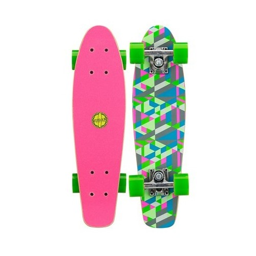 Mini Skateboard Black Dragon Green Pink