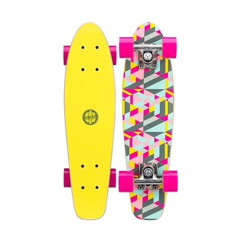 Mini Skateboard Black Dragon Pink Gul
