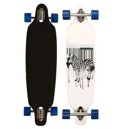 Black Dragon Longboard Drop Through Zebra White
