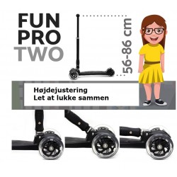 Fun Pro Two Deluxe Gul Trehjulet Løbehjul LED - 2 - 12 år